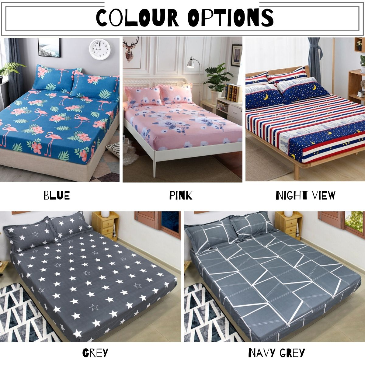 3 In 1 Creative Design Queen Size Fitted Cotton Bed Sheet