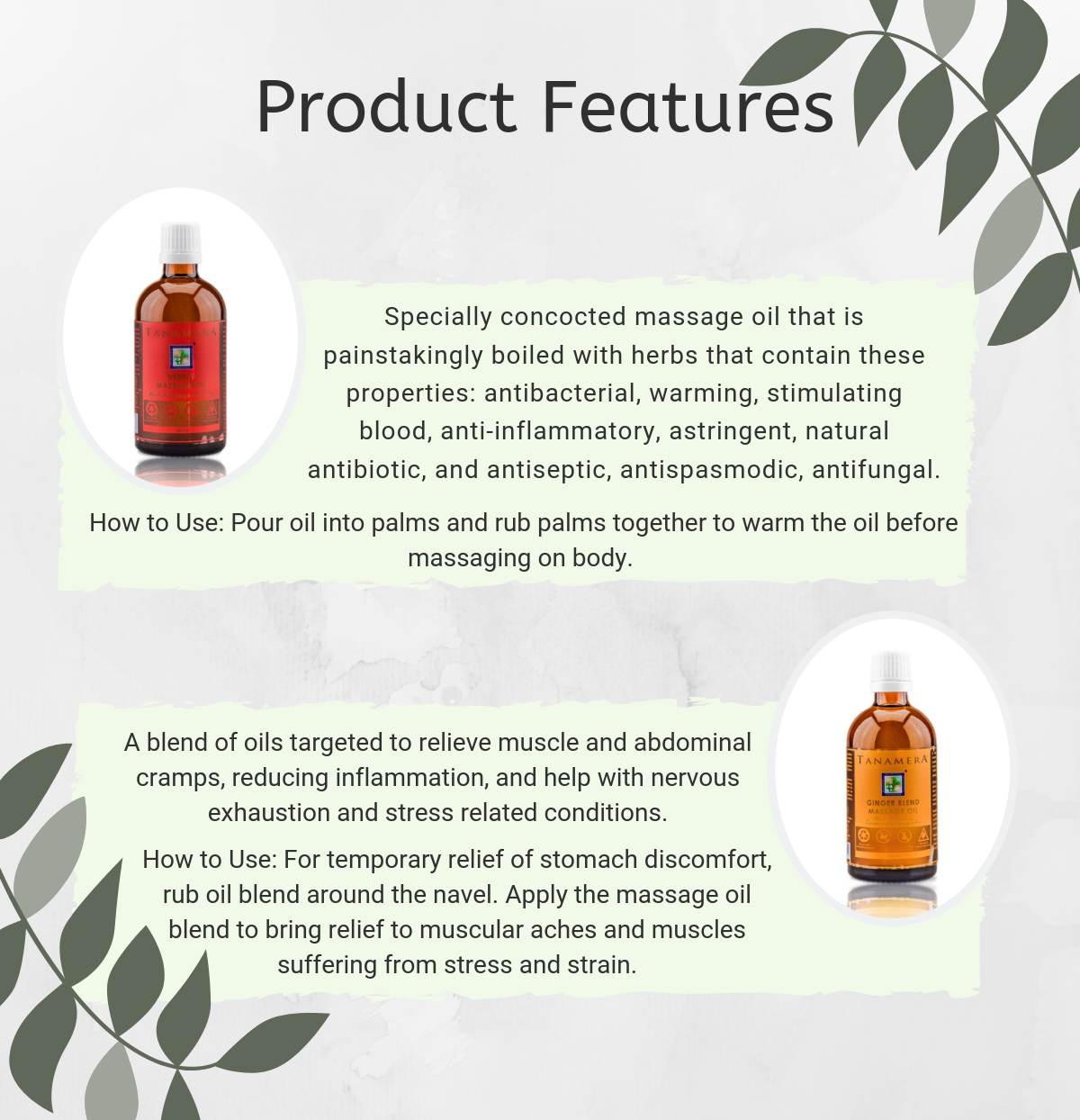 Tanamera Herbal and Ginger Blend Massage Oil Set