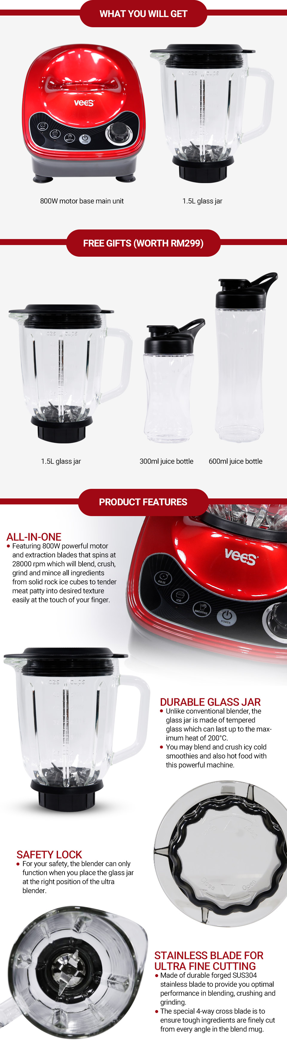 VEES Ultra Blender & Processor